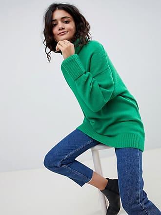 1209b1a7dc61 Asos Eco - Grob gestickter Oversize-Pullover mit hohem Kragen - Grün