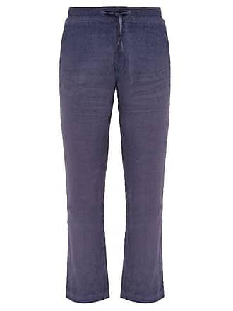 120% Lino Straight Leg Linen Trousers - Mens - Navy