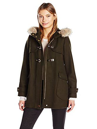 Trina Turk Womens Elizabeth Toggle Coat with Real Coyote Fur and Cuff Tie Detail, Olive, 12