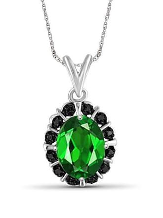 JewelersClub JewelersClub 1.55 Carat T.G.W. Chrome Diopside Gemstone and Black Diamond Accent Pendant