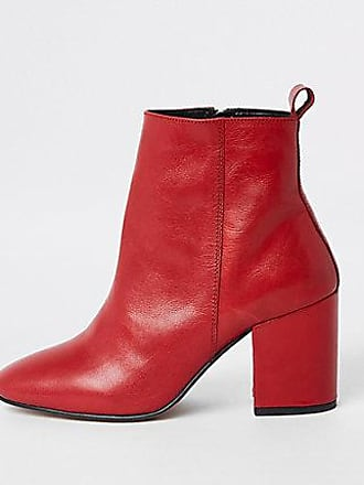 River Island Womens Red leather block heel ankle boots