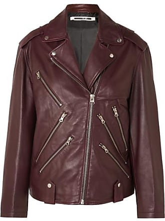 McQ by Alexander McQueen Oversized Leather Biker Jacket - Burgundy