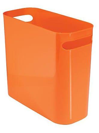 InterDesign Una Rectangular Trash Can with Handles, Waste Basket Garbage Can for Bathroom, Bedroom, Home Office, Dorm, College, 10-Inch, Orange