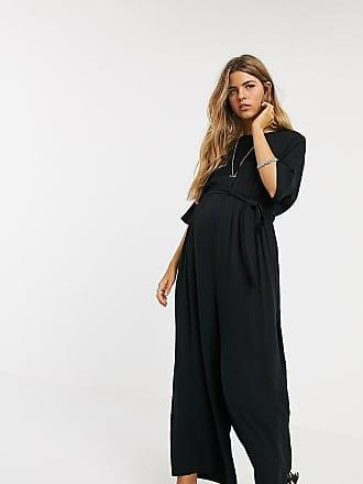 Asos Maternity ASOS DESIGN Maternity tie waist jumpsuit in black