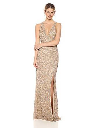 Aidan Mattox Womens Sleeveless Beaded V Neck Gown, Light Gold 0