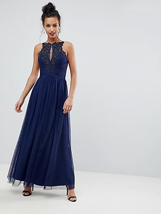 Little Mistress Applique High Neck Maxi Dress - Navy