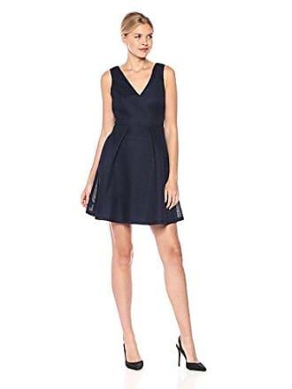 Guess Womens A-line Bonded Mesh Dress, Navy 6