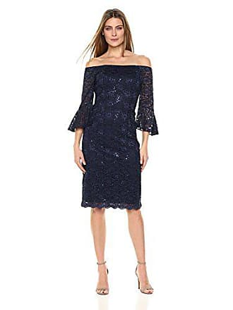 5ed5a6ad91b Alex Evenings Womens Off The Shoulder All Over Lace Dress with Bell Sleeves