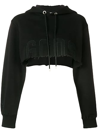 GCDS cropped hooded sweatshirt - Black
