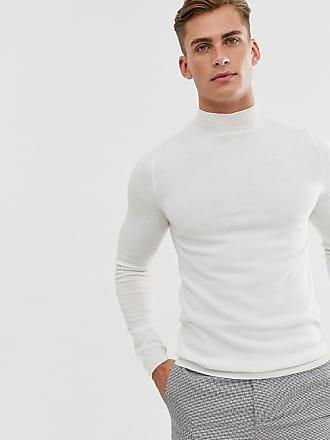 pull col roulé moulant homme blanc