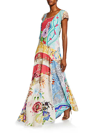 Johnny Was Leon Printed Cap-Sleeve Maxi Dress with Slip