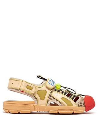 76869e1cc Gucci Leather And Mesh Sandals - Mens - Beige
