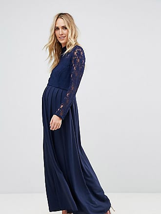 Queen Bee Maternity Over Lace Top Maxi Dress With Open Back-Navy