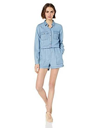 Daily Ritual Womens Tencel Long-Sleeve Utility Romper, Light Wash, 12