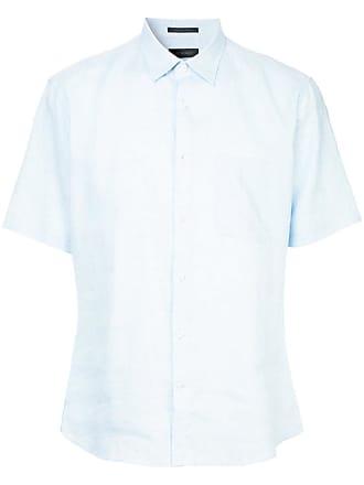 Durban Camisa mangas curtas de linho - Azul