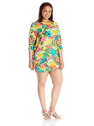 b0b579828d Anne Cole Womens Plus-Size Island Time Mesh Boat Neck Side Shirred 3 4