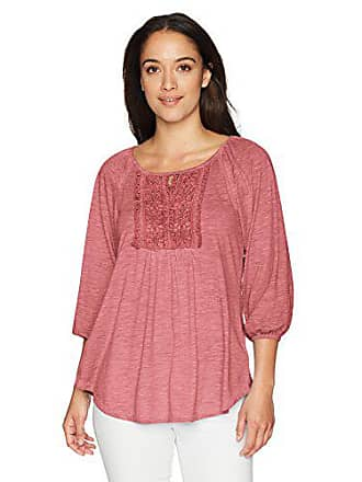 Oneworld Womens Petite 3/4 Ballon Sleeve Oil Wash Top with Keyhole Cutout, Coral Haze PL