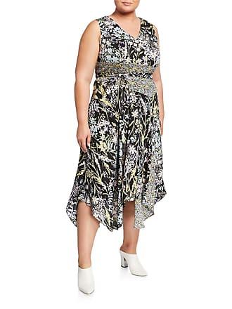 Iconic American Designer Plus Size Sleeveless Floral Handkerchief Maxi Dress