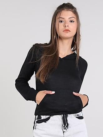 Basics Blusão Feminino com Capuz e Bolso em Tricô Preto