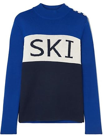 Tory Sport Button-embellished Intarsia Merino Wool-blend Sweater - Navy