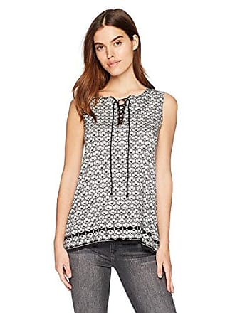 Max Studio Womens Sleeveless Jersey Lace Up Top, Black/Ivory Pansy Tile Panel, L