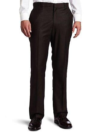 Perry Ellis Mens Portfolio Modern Fit Flat Front Deco Stripe Pant, Brown 34x32