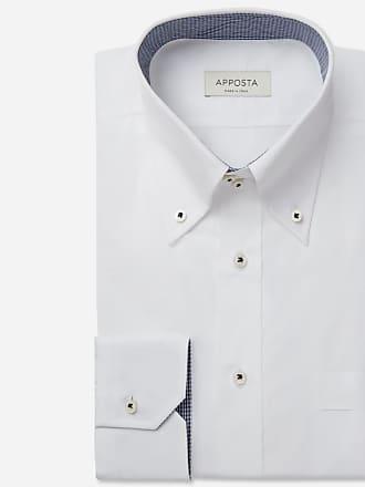 Apposta Camicia tinta unita bianco 100% puro cotone popeline doppio ritorto, collo stile button down alto due bottoni