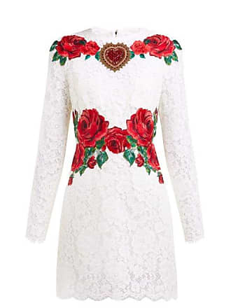 9ebe5c51 Dolce & Gabbana Rose Embroidered Lace Mini Dress - Womens - White Multi
