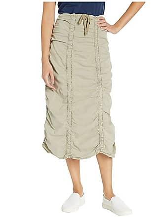 Xcvi Stretch Poplin Double Shirred Panel Skirt (Fennel Pigment) Womens Skirt