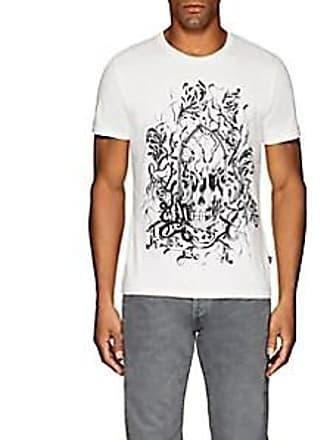 Just Cavalli Mens Skull-Print Cotton T-Shirt - White Size S