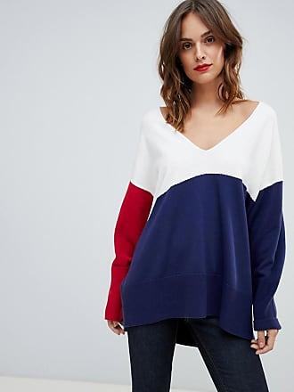 HUGO BOSS Boss Casual oversized v neck color block sweater - Multi