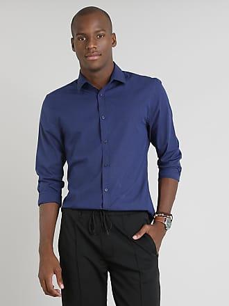 C&A Camisa Masculina Slim Listrada Manga Longa Azul Marinho