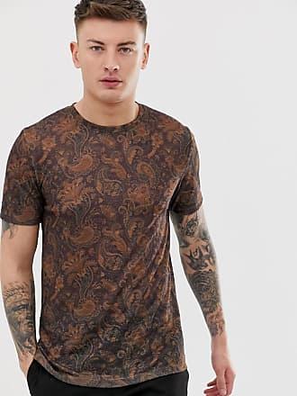 f5c81998f50da River Island T-Shirt mit Paisley-Muster in Burgunder - Rot