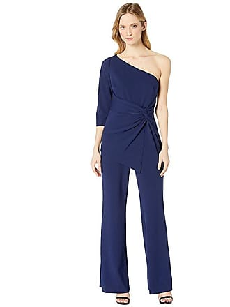 278ebca09b23 Adrianna Papell One Shoulder Jumpsuit (Light Navy) Womens Jumpsuit & Rompers  One Piece