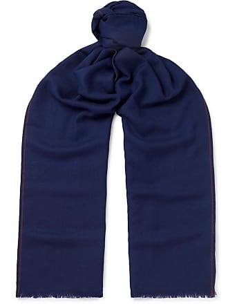 Loro Piana Super Wish Fringed Virgin Wool-twill Scarf - Blue