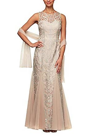 Alex Evenings Womens Embroidered Dress with Illusion Neckline, Petite Nude/SIL, 6P