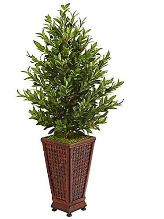 Nearly Natural 9321 46-in. Olive Cone Topiary Artificial Decorative Planter Silk Trees, Green