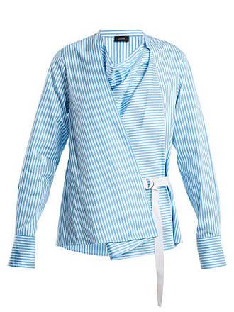Joseph Arran Striped Cowl Neck Wrap Shirt - Womens - Blue Stripe