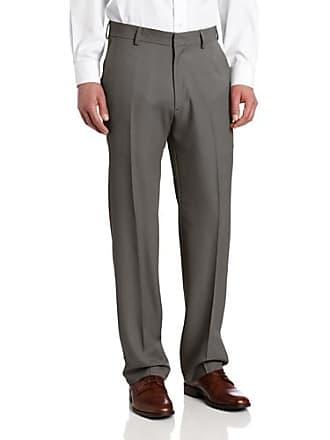 Haggar Mens Nailshead Textured Straight Fit Plain Front Dress Pant,Grey,30x32