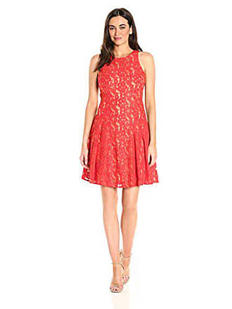 Ivanka Trump Womens Red Lace Fit and Flare Dress, Nude, 8