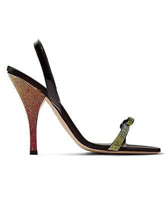 Marco De Vincenzo Patent Leather-trimmed Crystal-embellished Satin Slingback Sandals - Black