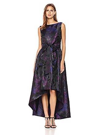 Tahari by ASL Womens High Low Metallic Printed Gown, Black/Wine/Violet, 10