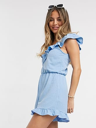 Miss Selfridge beach playsuit with frill neck in blue