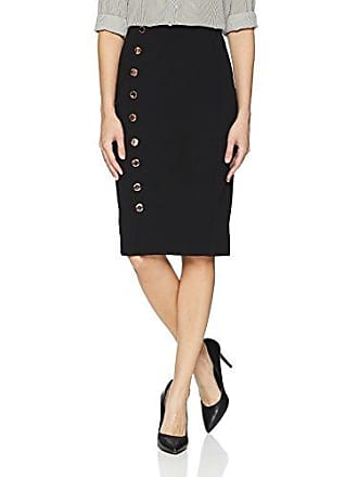 5cc90fa733 Ivanka Trump Womens Midi Skirt with Button Details, Black, 8