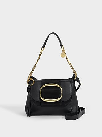 77dcea364a1f90 See By Chloé Hopper Small Hobo Bag in Black Grained and Suede Calfskin