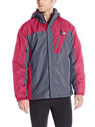 a6477be13398c New Balance Mens 2 Tone Laminated Polyester Systems Jacket, Thunder  Grey/Crimson, Large