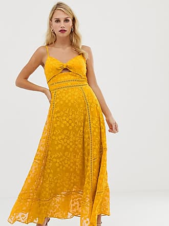 2a967e07a7897 Forever New cami strap midi lace dress with tie front in yellow