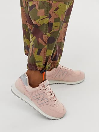 New Balance 574 Pink And Silver Sneakers - Pink
