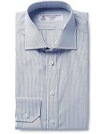Turnbull & Asser Storm-blue Checked Cotton-poplin Shirt - Storm blue