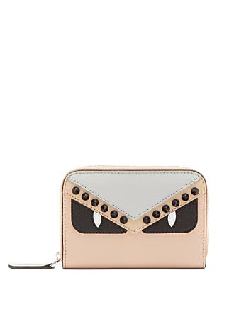 Fendi Bag Bugs Zip Around Leather Wallet - Womens - Pink Multi